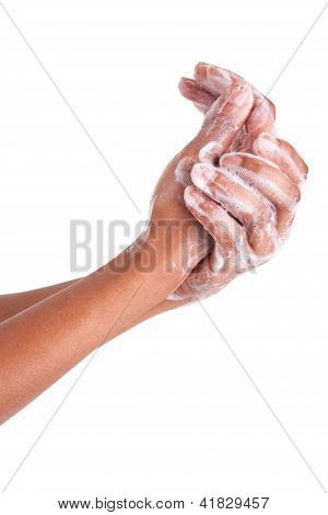 African American Woman Washing Hands