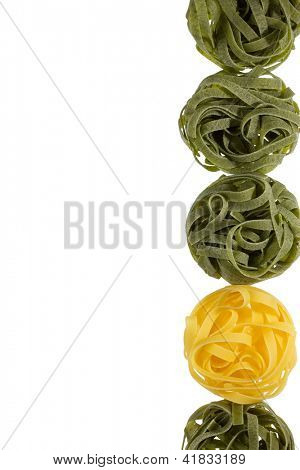 Tagliatelle in two colours, close up