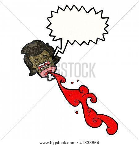 cartoon gross blood spurting severed head
