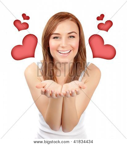 Picture of pretty woman with red hearts isolated on white background, female in love, first affection, Valentine day, romantic teenager girl, closeup portrait of dreamy young lady, happy concept