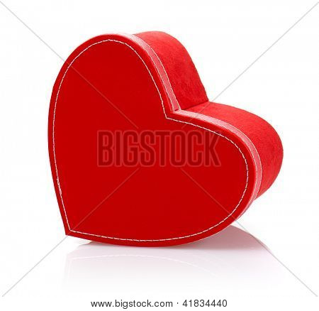 Picture of beautiful red heart-shaped gift-box isolated on white background, romantic present for Valentine day, luxury symbolic container for holiday candy, wedding gift, love concept