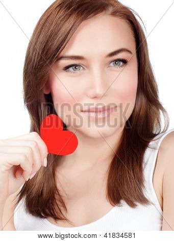 Picture of beautiful young woman holding in hands red paper heart, closeup portrait of cute girl with heart-shaped postcard isolated on white background, Valentines day, romantic holiday, love concept