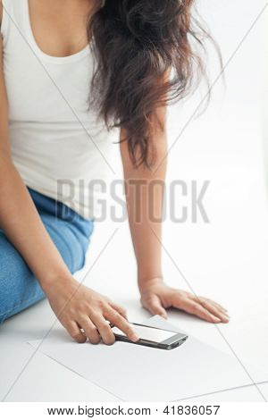 Indian girl with mobile smart phone