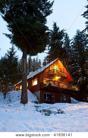 Cabin in woods at dusk.