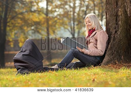Young mother sitting in a park and reading a story to her baby in a carrycot