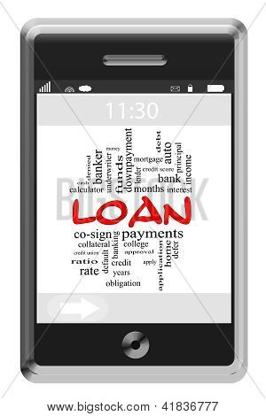 Loan Word Cloud Concept On Touchscreen Phone
