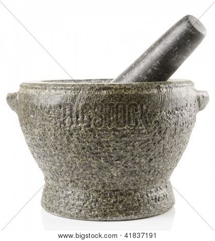Granite mortar used for making sauces isolated on white background