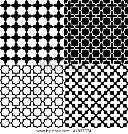 Moroccan black and white seamless patterns set, vector
