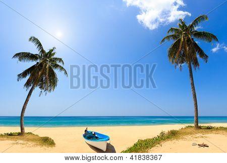 Holidays sunny tranquil paradise beach