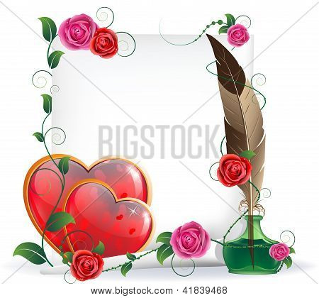 Valentines Hearts, Roses And  Paper