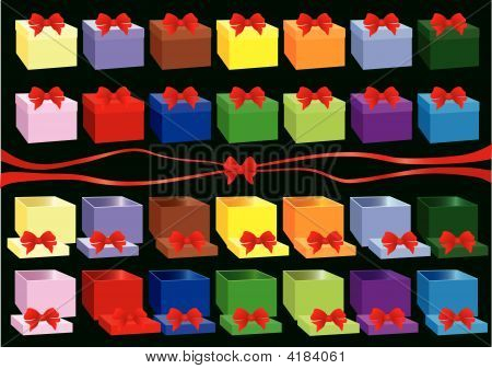 Closed And Open Gift Box With Ribbon