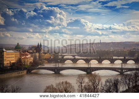 aerial view on bridges in Prague, Czech Republic