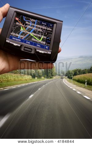 Gps In A Man Hand
