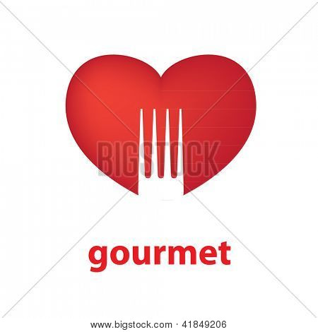 Sign template - gourmet. Heart and silhouette of a fork. Vector.