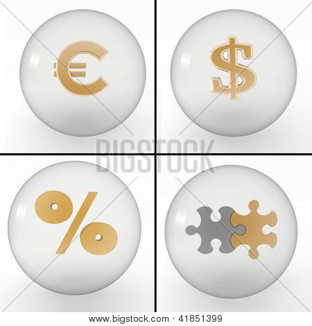 set of symbols on financial business in transparent balls