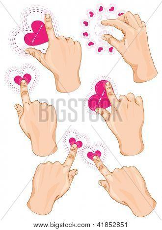 Vector set of commonly used multitouch gestures for tablets or smartphone. Happy Valentine!