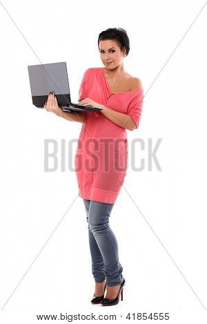 Young beautiful woman with laptop isolated over white background