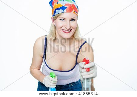 Housewive With Two Spray Bottles