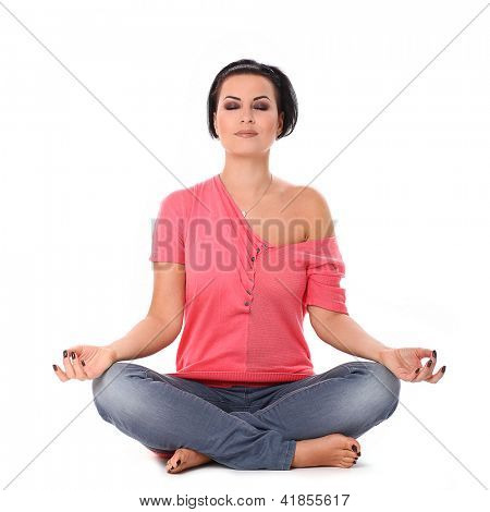 Beautiful woman enjoying yoga  isolated over white background