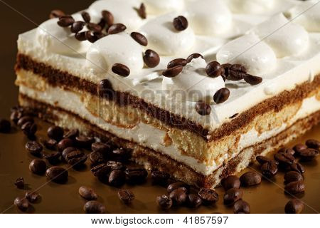 Tiramisu Cake with coffee beans