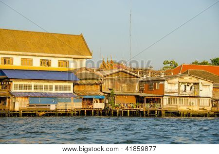 Bangkok, Thailand - Rundown homes by Chao Praya River