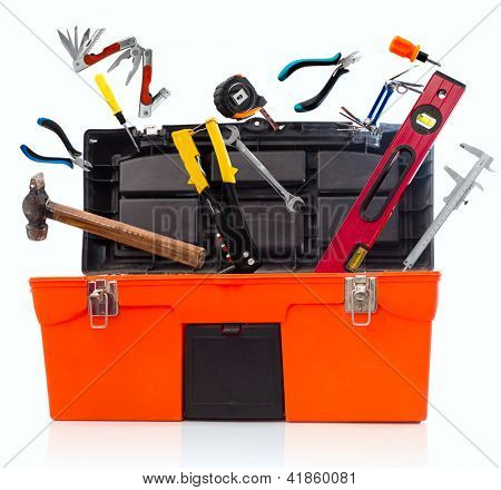 Toolbox with tools isolated on white background