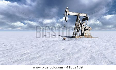 Oil Field At  Snow
