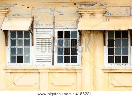 Ramshackle Windows With Breaked Glass