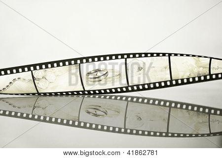Filmstrip with wedding photos