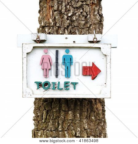 Toilet Sign With A Tree