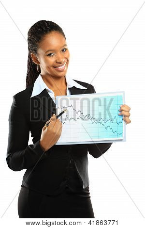 Young beautiful business woman showing the grouth and standing against white background