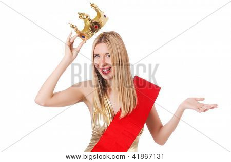 Beauty queen at contest isolated on white