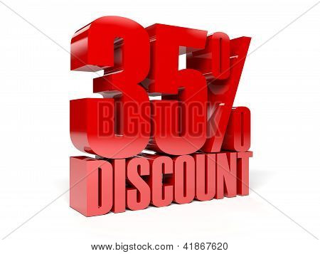 35 percent discount. Concept 3D illustration.