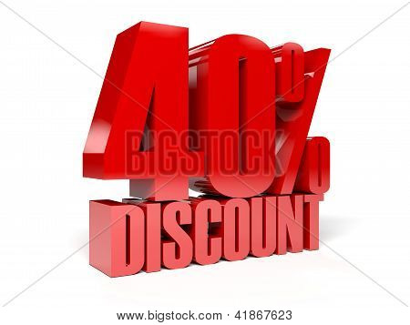 40 percent discount. Concept 3D illustration.