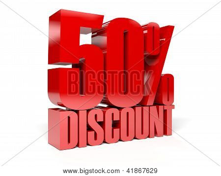 50 percent discount. Concept 3D illustration.