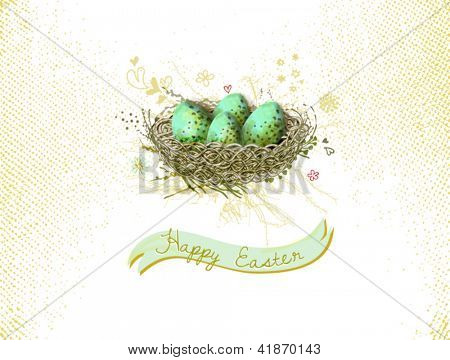 Happy Easter! - Bird's nest with colorful eggs greeting card