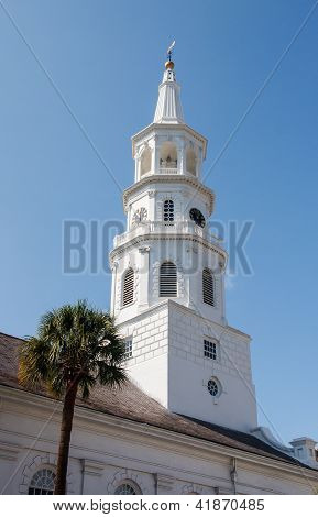 White Steeple With Palm Tree