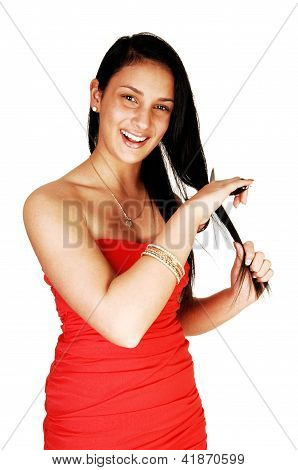 Girl Cutting Her Hair.