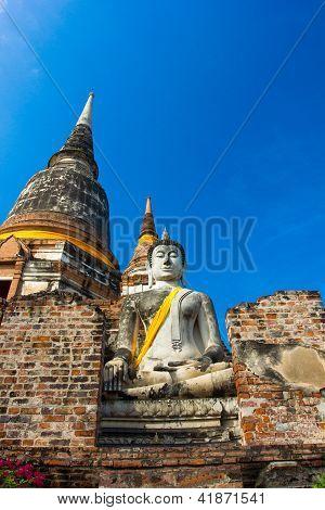 Wat Yai Chaimongkol templo de Ayutthaya histórico, Tailandia
