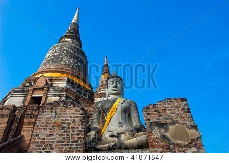 Wat Yai Chaimongkol  Temple of Ayutthaya Historical, Thailand