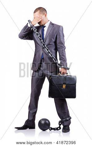 Empresário com algemas em branco