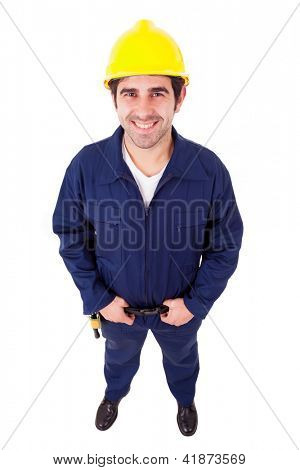 Smiling worker full lenght, isolated on white