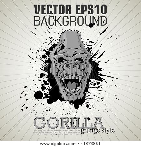 aggressive gorilla on the poster in grunge style