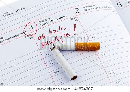 quit smoking. good resolution in the calendar to be non smoking.