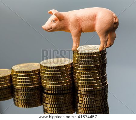 a pig standing on a stack of coins. rising feed costs in agriculture. diminishing returns for pork