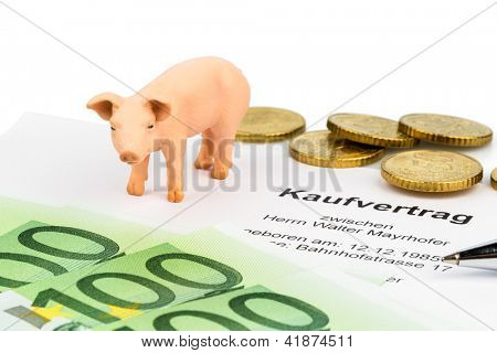 a sales contract and a pig. purchase of farm animals, farmer union adherent.