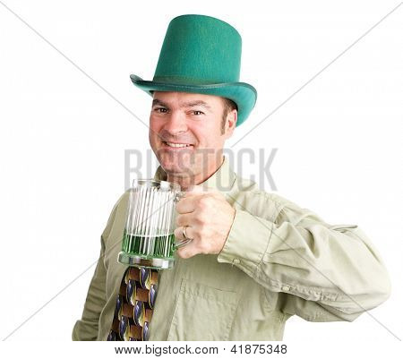 Irish man drinks green beer to celebrate St. Patrick's Day.  Isolated on white.