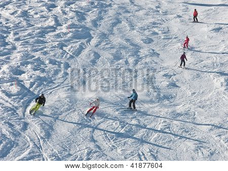 Skiers Is Skiing At A Ski Resort