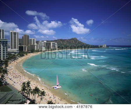 Waikiki-Strand und Diamantkopf