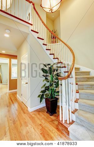 Curved Staircase With Hallway And Hardwood Floor.